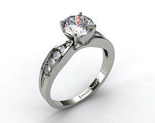 14k White Gold Bow-Tie Channel Set Round Shaped Diamond Engagement Ring  